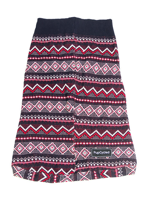 Red and Blue Patterned Extra Large Sweater