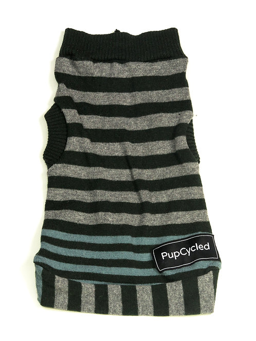 Green and Gray Striped Extra Small Sweater