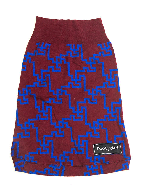 Maroon and Blue Patterned Medium Sweater