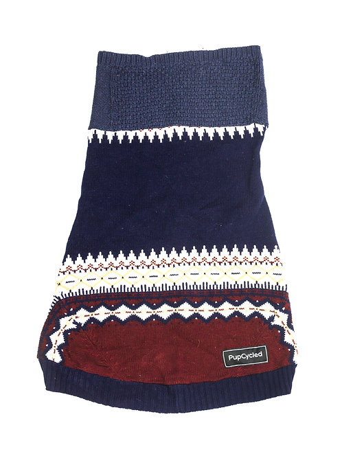 Navy Blue and Red Patterned Extra Large Sweater
