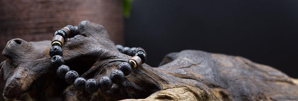 Bracelet Lithothérapie Pierres de lave, Agate noire