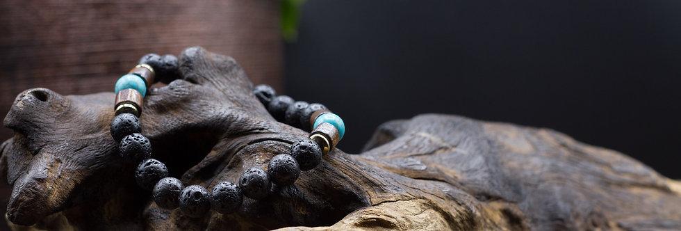 Bracelet Lithothérapie Pierres de lave, Turquoise