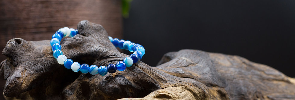 Bracelet Lithothérapie Agate bleue