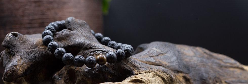 Bracelet Lithothérapie Pierres de lave et oeil de tigre