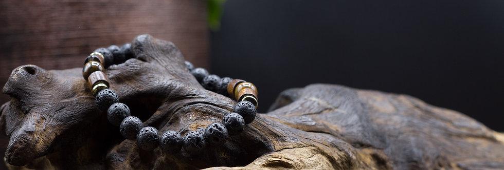 Bracelet Lithothérapie Pierres de lave ,Oeil de tigre