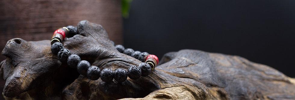Bracelet Lithothérapie Pierres de lave, Turquoise teintée (rouge)