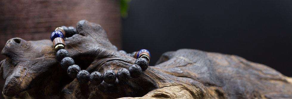 Bracelet Lithothérapie Pierres de lave, Lapis Lazuli