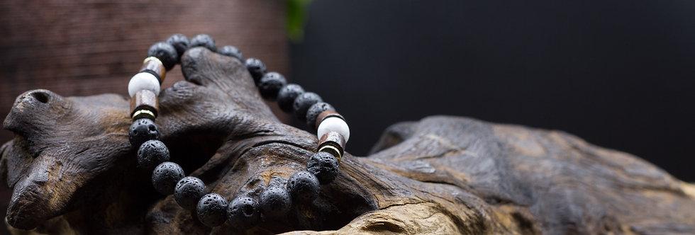 Bracelet Lithothérapie Pierres de lave, Howlite