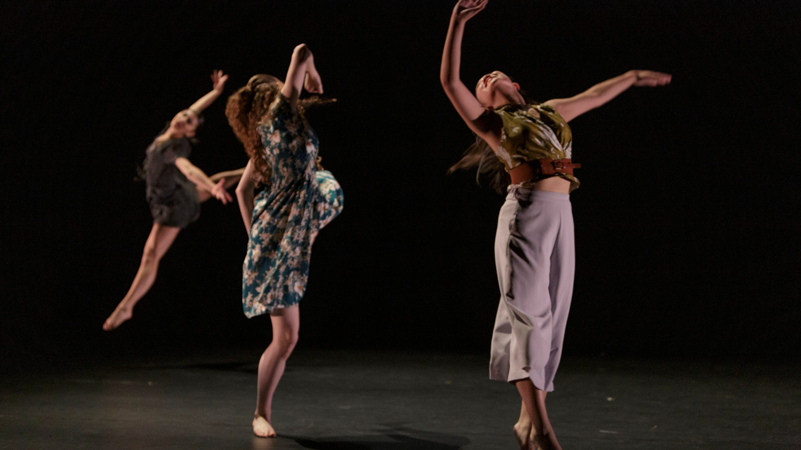 From Left: Kaiya Lee, Sydney Runions, and Melodie Yeung in 'A Day of Light' Choreography by Hanna Kiel