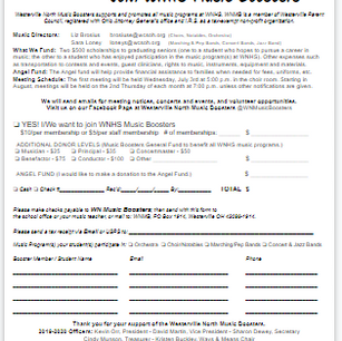WNHS Music Boosters Membership form
