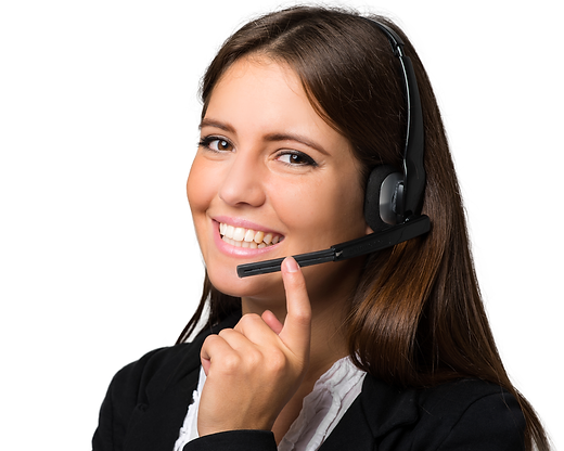 Customer service representative with a headset smiling at the viewer