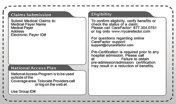 Virtual version of member ID card with red circle showing where the address for claims submissions is