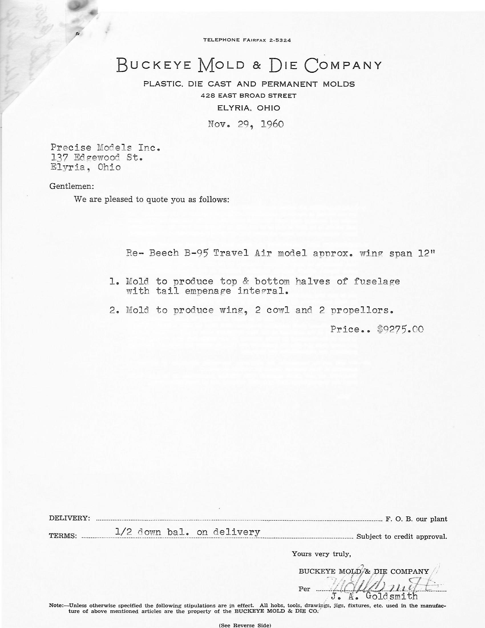 Beech B-95 mold bid