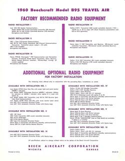 1960 Beech B95 options brochure