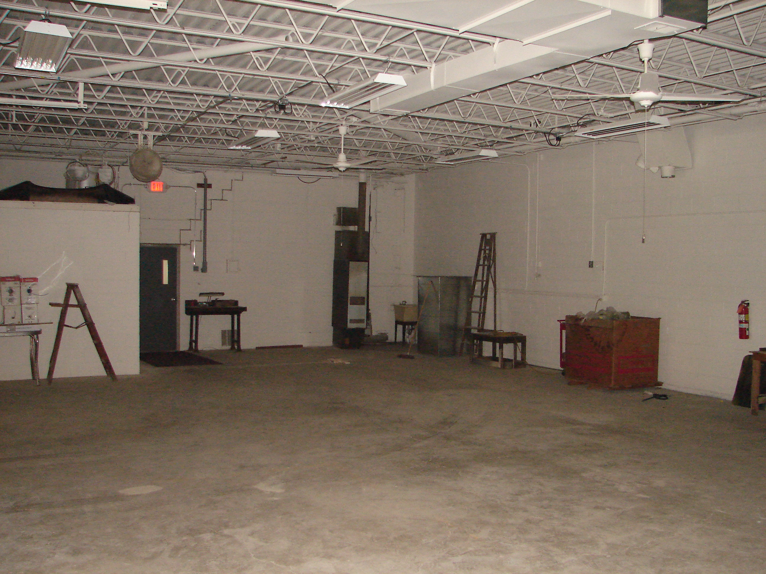 former paint booth area