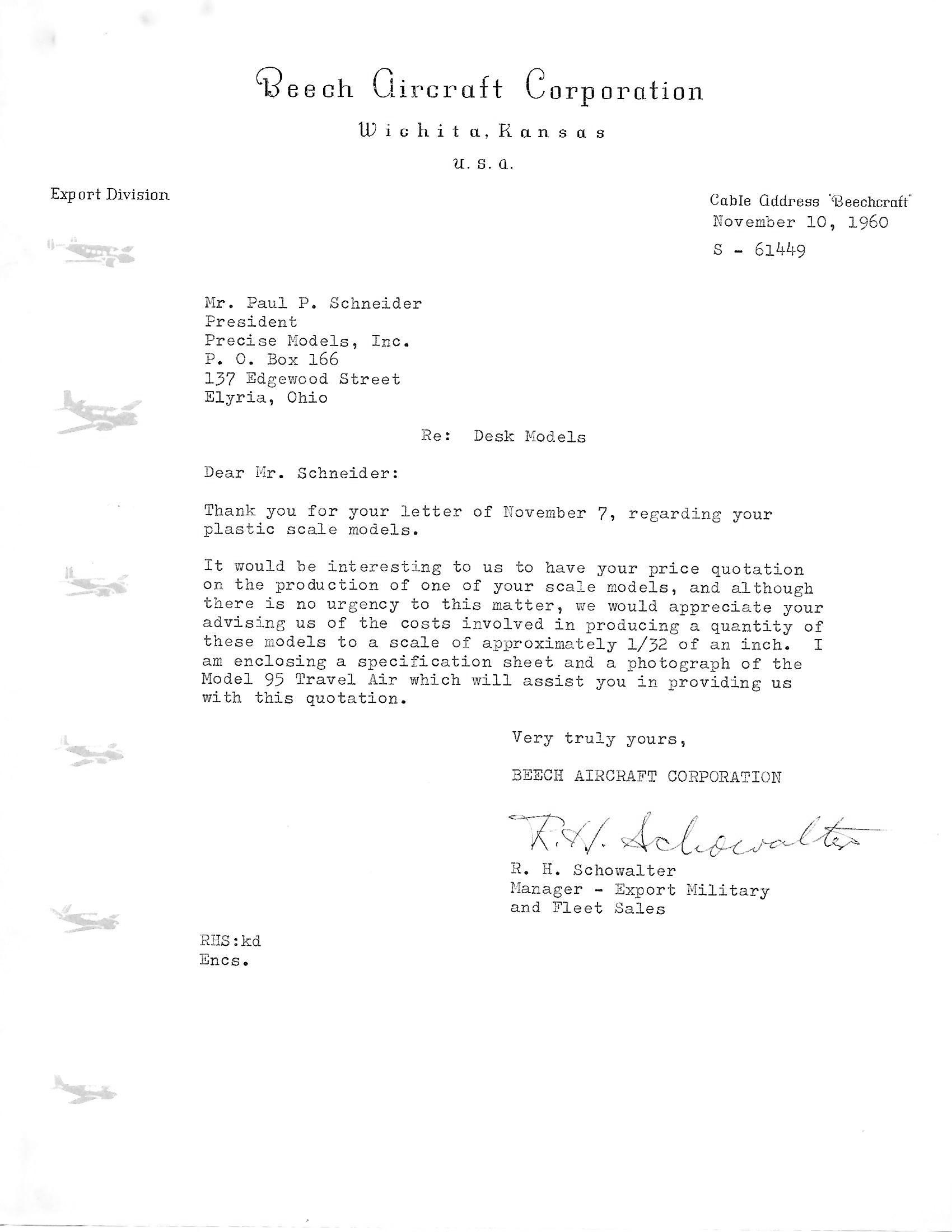 Beech Model 95 letter