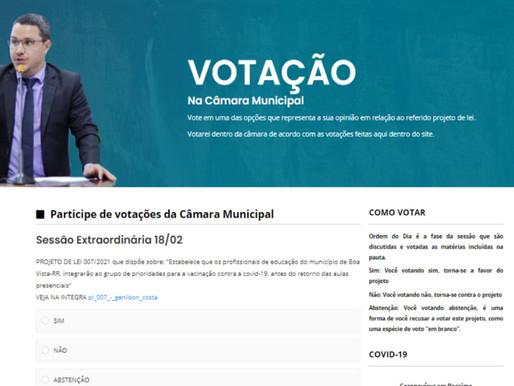 Vereador lança site que permite população colaborar na votação de projetos