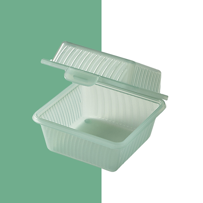 "1 Compartment, Jade, Eco-Takeout Container - 4 3/4""L x 4 3/4""W x 3 1/2""H"