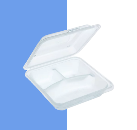 12 x 3-Compartment Takeout Container, Translucent Green