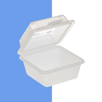 "1 Compartment, Clear, Eco-Takeout Container - 4 3/4""L x 4 3/4""W x 3 1/2""H"