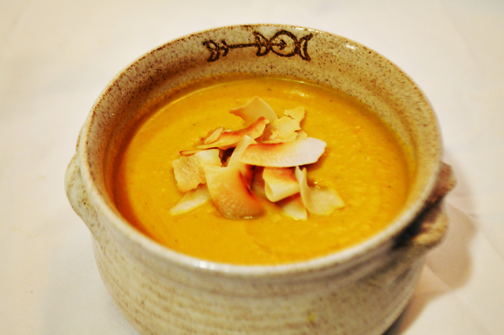 sweet potato, carrot, coconut curry soup
