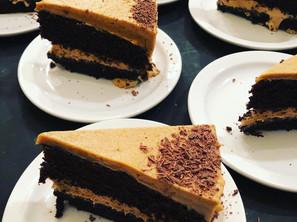 Devily moist dark chocolate cake with a carmal mocha buttercream