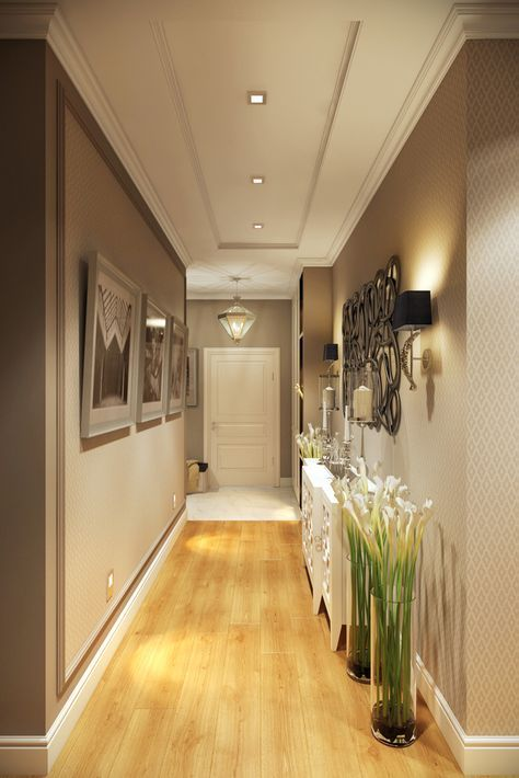 Faux-plafond en décaissé avec corniche en staff dans un couloir.