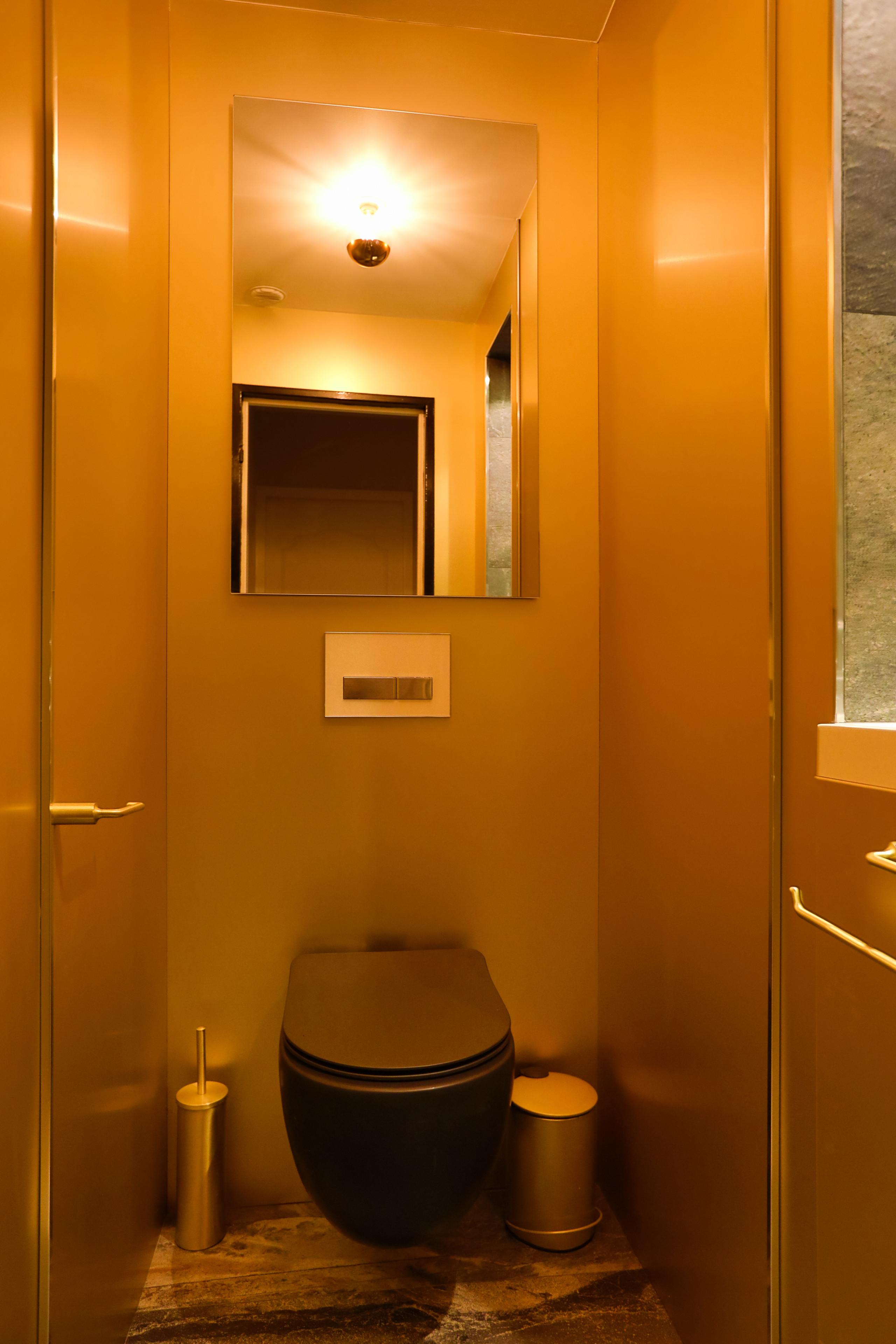 Toilettes indépendantes dans le même style que la salle d'eau.