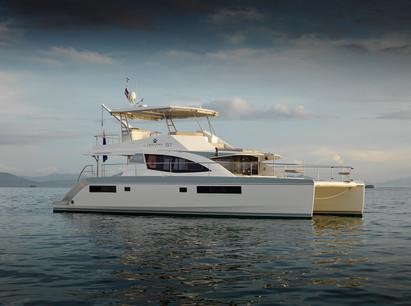 Exterior shot luxury Leopard 51 yacht.
