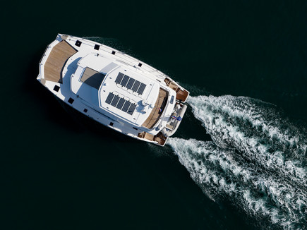 Aerial shot from above of yacht.