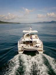 Drone shot luxury Leopard 51 yacht.