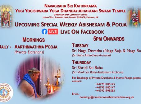 Special weekly Abishekams & Poojas