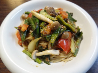島野菜とサバ缶deパスタ