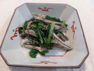 骨粗鬆症予防第二弾 キビナゴと青菜のごま和え
