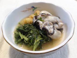 牡蠣と大根葉の味噌煮