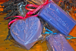 A variety of lavender soaps