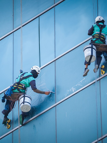Group Of Workers Cleaning Windows Servic