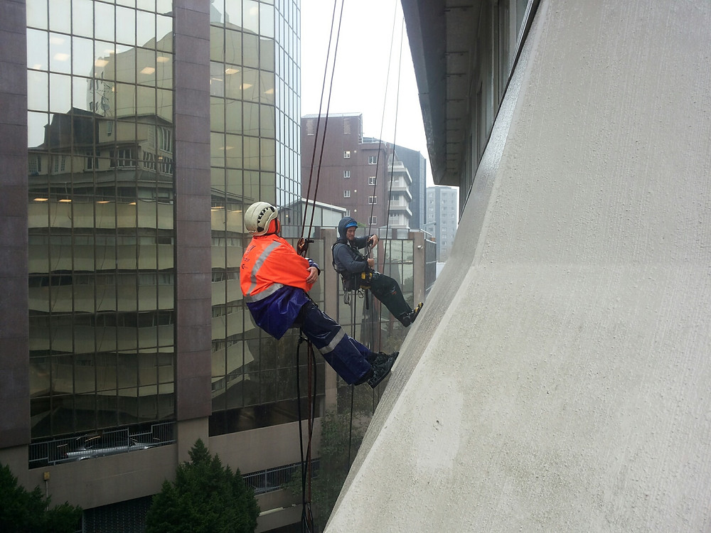 getting drenched waterblasting