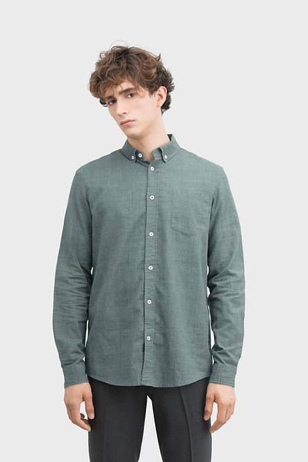 Button Up Poplin Shirt - Olive