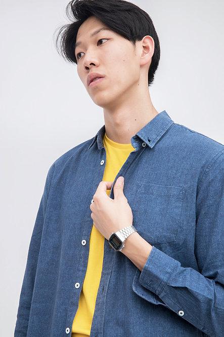 Button Up Poplin Shirt - Navy