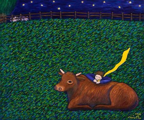 황소에 기댄 큰왕자, 72x60cm, oil on canvas, 2014