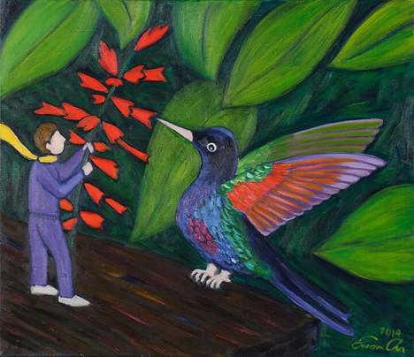 벌새와 큰왕자 (Hummingbird and Big Prince), 53x45cm, oil on canvas, 2014