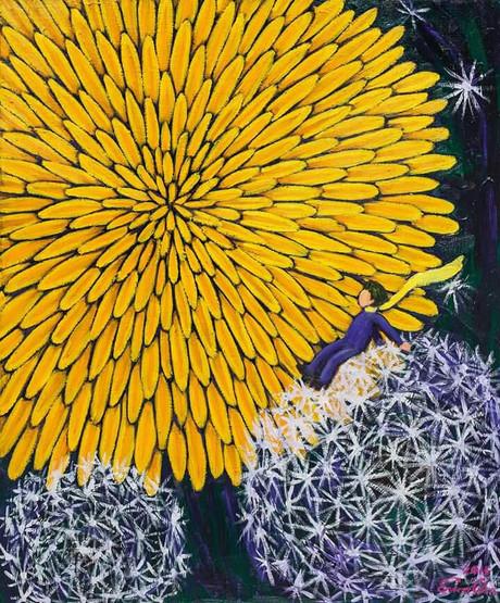 민들레와 큰왕자 III (Big Prince and the Dandelion III), 60x72cm, oil on canvas, 2015