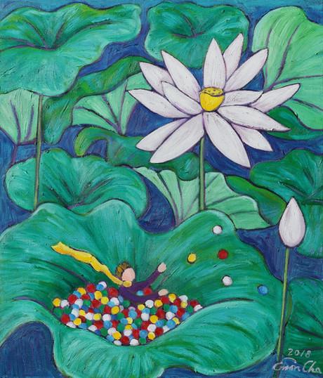 연꽃과 큰왕자 I (Big Prince and the Lotus I), 45x53cm, oil on canvas, 2018