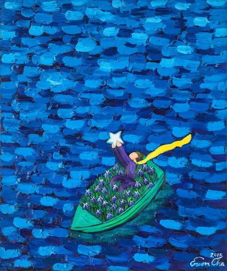 별을 안고 배에 탄 큰왕자II (Big Prince in Boat with the Star II), 60x72cm, oil on canvas, 2015