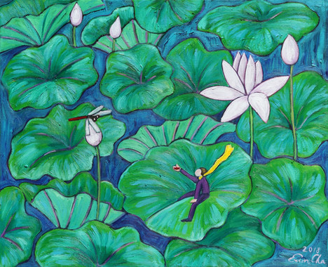 연꽃과 큰왕자 II (Big Prince and the Lotus II), 65x53cm, oil on canvas, 2018