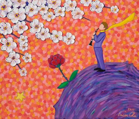 클라리넷과 큰왕자 (Clarinet and the Big Prince), 53x45cm, oil on canvas, 2017