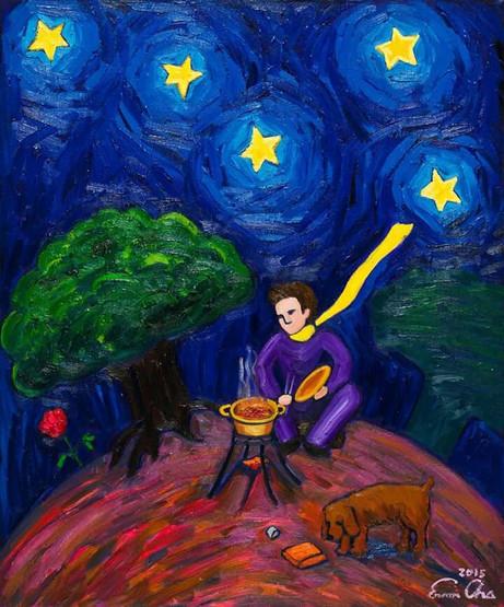 라면끓이는 큰왕자 (Big Prince Cooking Ramen), 60x72cm, oil on canvas, 2015