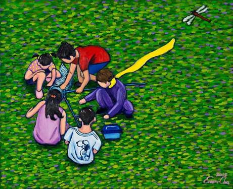 잠자리와 큰왕자 (Big Prince and the Dragonfly), 65x53cm, oil on canvas, 2015