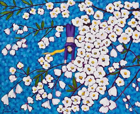 벚꽃과 큰왕자 IV (Big Prince and the Cherry Blossoms IV), 65x53cm, oil on canvas, 2015